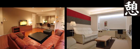 キレイな控え室(楽屋)は、使レイアウトによりメイクルーム・フィッティングルームにも早変わりします!